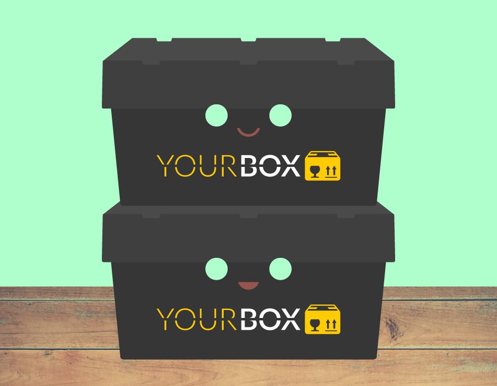 gestapelte YOUR BOX Umzugsboxen